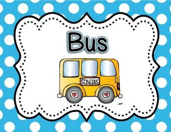 Dismissal Transportation Clip Chart {Bright Polka Dot}