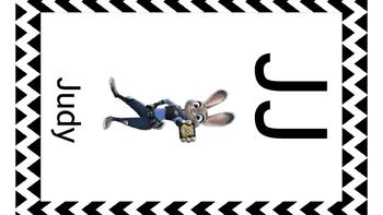 Disney Alphabet Cards Black Chevron Borders UPDATED