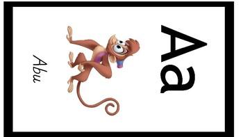 Disney Alphabet Cards Manuscript Solid Black  Border