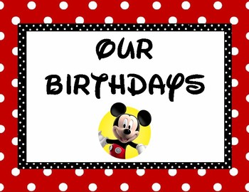Disney Birthday Chart