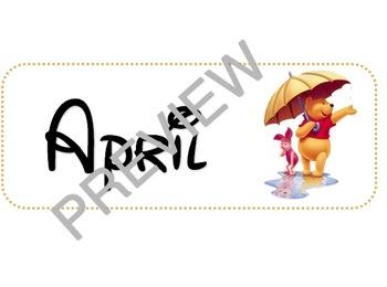 Disney Calendar Month Headers