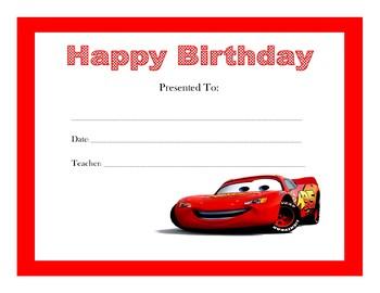 Disney Cars Birthday Certificates Includes 4 Certificates Tpt