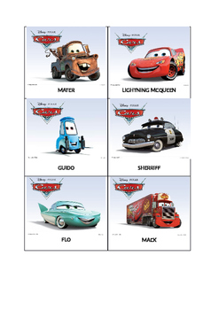 Disney Cars theme group signs/labels - 6 groups
