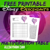 Disney Descendants Multiplication Table Blank Worksheet and Answer Key