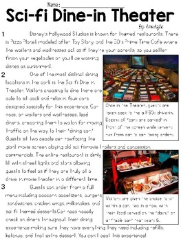 Disney Dining Articles Text & Question Sets - FSA/PARCC-Style ELA Assessment