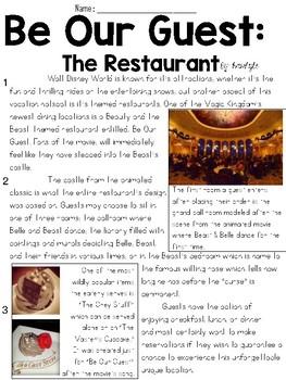 Disney Dining Articles Text & Question Sets - FSA/PARCC-St