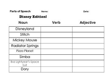 Disney Edition - Parts of Speech