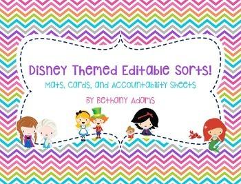 Disney Fairy Tale Themed Editable Sorts