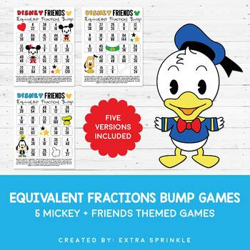 Disney Friends Inspired Equivalent Fractions Bump Games