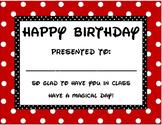Disney Happy Birthday Certificate