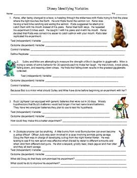 Disney Identifying Variables Worksheet by Heter's Place | TpT