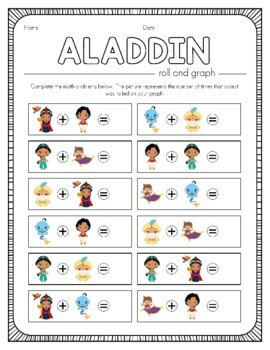 Disney Inspired Aladdin + Jasmine Roll and Graph Activity and Data Sheets