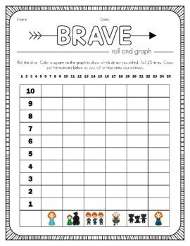 Disney Inspired Brave Roll and Graph Activity and Data Sheets