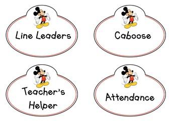 Disney Inspired Classroom Helpers