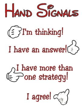 Disney Inspired Classroom - Number Talks Hand Signals Poster