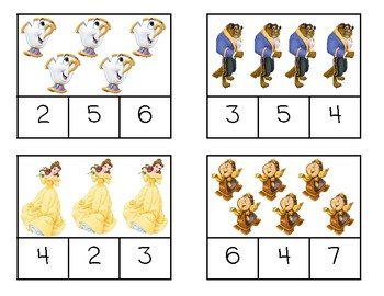 Disney Inspired Clip and Learn (counting to 10 and initial sounds)