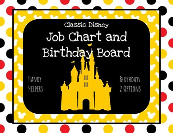 Disney Inspired Decor Job Chart and Birthday Boards
