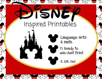Disney Inspired Language Arts and Math Printables