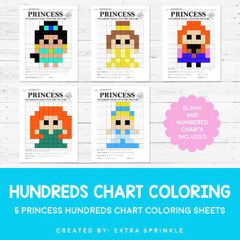 Disney Inspired Princess Hundreds Chart Coloring Pages Second Edition