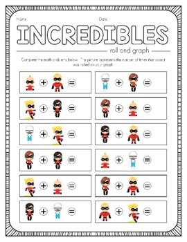 Disney Inspired The Incredibles Roll and Graph Activity and Data Sheets
