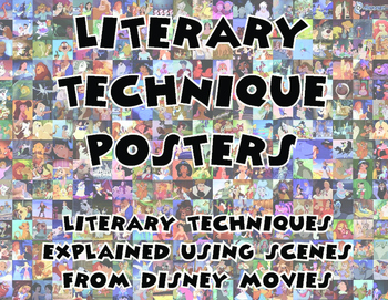 Literary Techniques Posters - understandling literary techniques using Disney