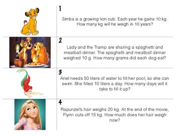 Disney Measurement Word Problems Write the Room