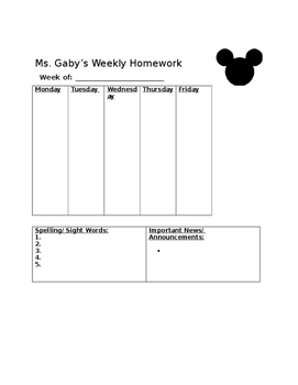 Disney Mickey Mouse Homework Template