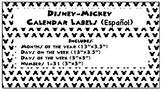 Disney Mickey Mouse SPANISH Calendar Label Set