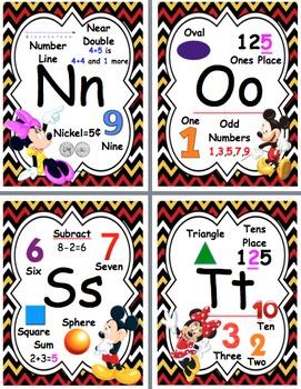 Disney Mickey and Minnie Math Alphabet Posters