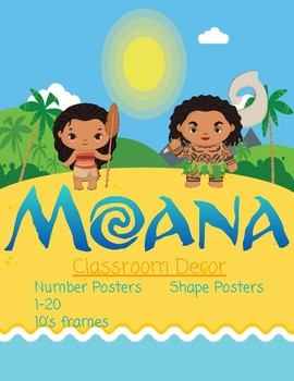 Disney Moana Inspired Number and Shape Posters