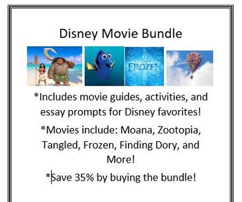 Disney Movie Bundle-Middle School English Activities-FREE UPDATES FOR LIFE