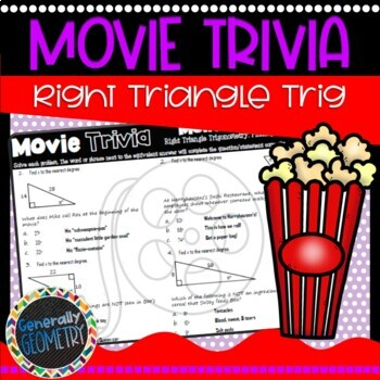 Disney Movie Fun, Monsters, Inc.: Right Triangle Trig-Finding Angles