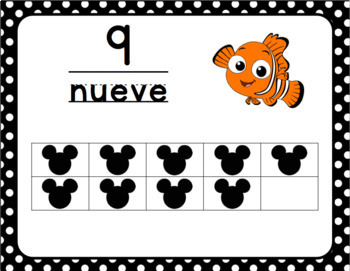 Disney Number Cards and Posters 0-20 (English and Spanish)