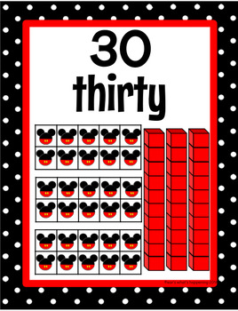 Disney Number Posters 0-30 - Black and White Polka Dots