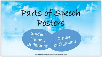 Disney Parts of Speech Definition Posters