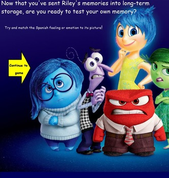 Emotions & Feelings in Spanish with Disney Pixar's Inside Out-Smart Board Lesson