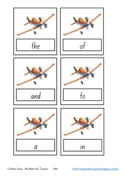 Disney Planes Sight Words Cards