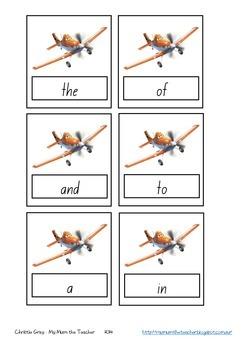 Disney Planes Sight Words Cards