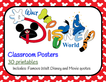 disney posters walt disney and movie quotes by rachel evans tpt