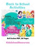 Disney Princess Back To School Activities - First Day of School Activities