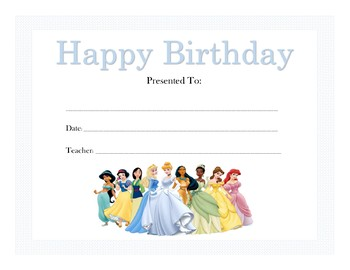 Disney Princess Birthday Certificates (Includes 16 Certificates)