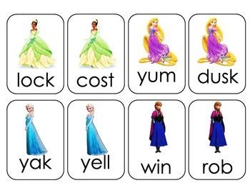 Disney Princess CVC Reading Card Game