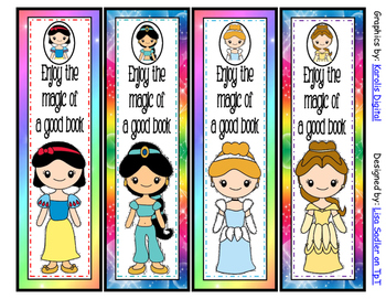 Princess Themed Bookmarks - 8 Designs