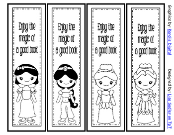 Princess Themed Bookmarks B Amp W Version 8 Designs By Lisa