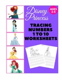 Disney Princess Tracing Numbers 1 to 10 Worksheets