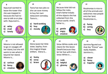 Character Traits Task Cards  (Gr.2-4)  Princess Theme (BOOM CARDS OPTION TOO)