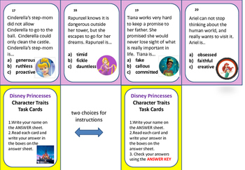 Character Traits Task Cards or Exit Tickets (Gr.5-8)-Disney Princess Theme
