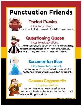 Disney Punctuation Friends