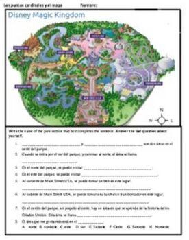Disney Puntos Cardinales / N,E,S,W Directions Practice in Spanish