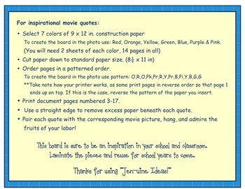 Disney Quotes Bulletin Board- printable template